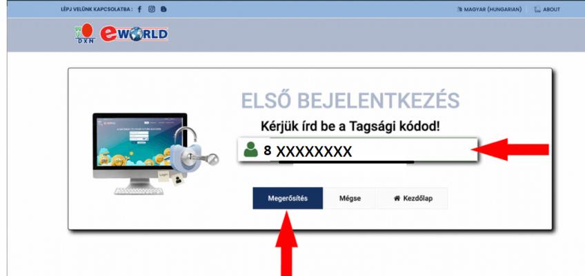 DXN eWorld Első Bejelentkezés tagsági kód megadása