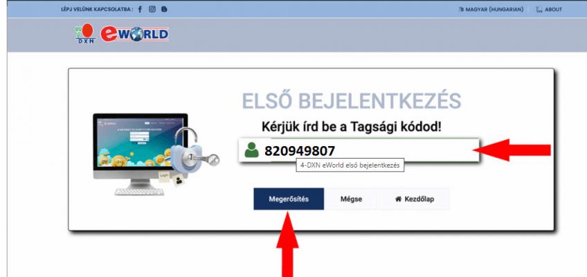 DXN eWorld Első Bejelentkezés tagsági kód megadása megerősítés