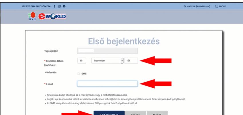 DXN eWorld Első Bejelentkezés email megadása