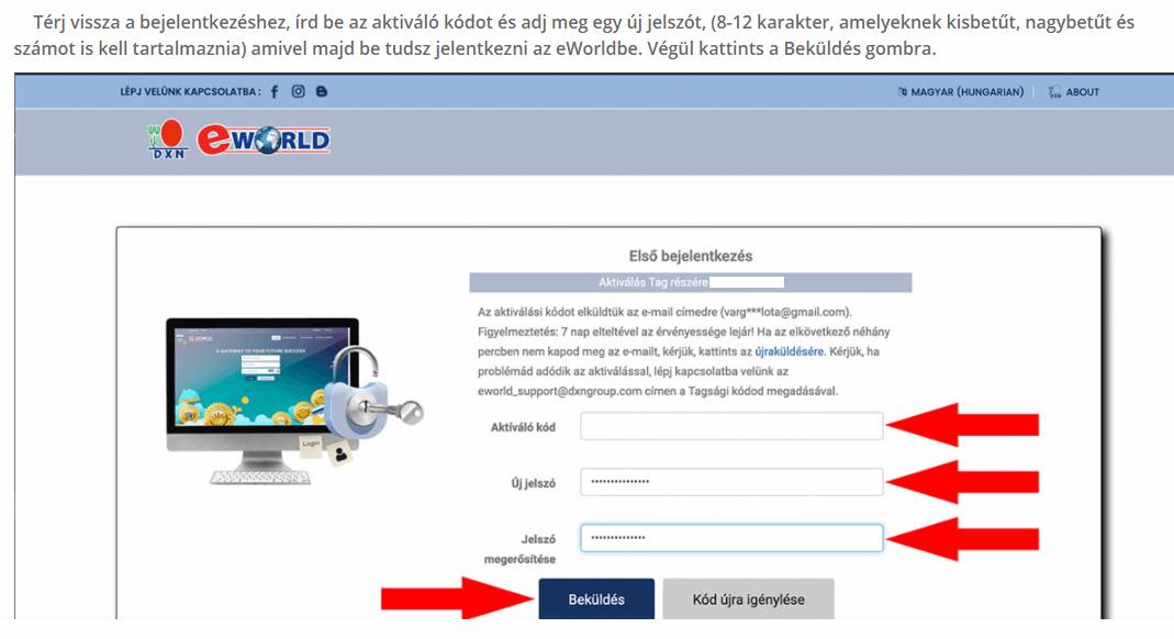 DXN eWorld Első Bejelentkezés. Hogyan kell aktiválni a DXN kódot